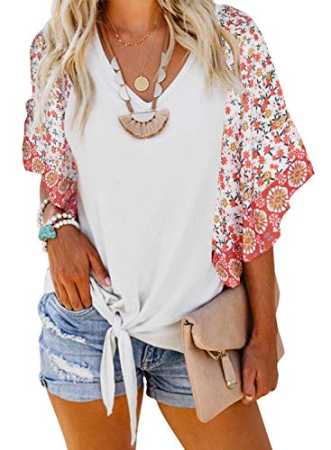 ZKESS Womens Casual Boho Pattern Shirts Batwing Short Sleeve V Neck Floral Print Tie Knot Twist Tops Blouse for Jeans White Large Size