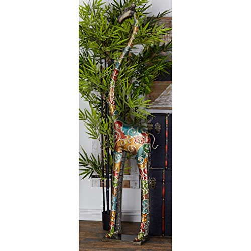 - 6ft Metal Giraffe Statues Large Sculpture Animal Decor Colorful African Themed Decorative Standing Safari Accent Office Piece, Iron