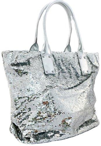 Pailletten Strandtasche XL Ibiza Handtasche Damen Shopper Glitzer in Silber Schimmer Tom & Eva