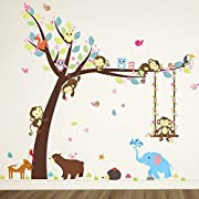 ElecMotive Cartoon Forest Animal Monkey Owls Hedgehog Tree Swing Nursery Wall Stickers Wall Murals DIY Posters Vinyl Removable Art Wall Decals for Kids Girls Room Decoration (Bear Elephant)