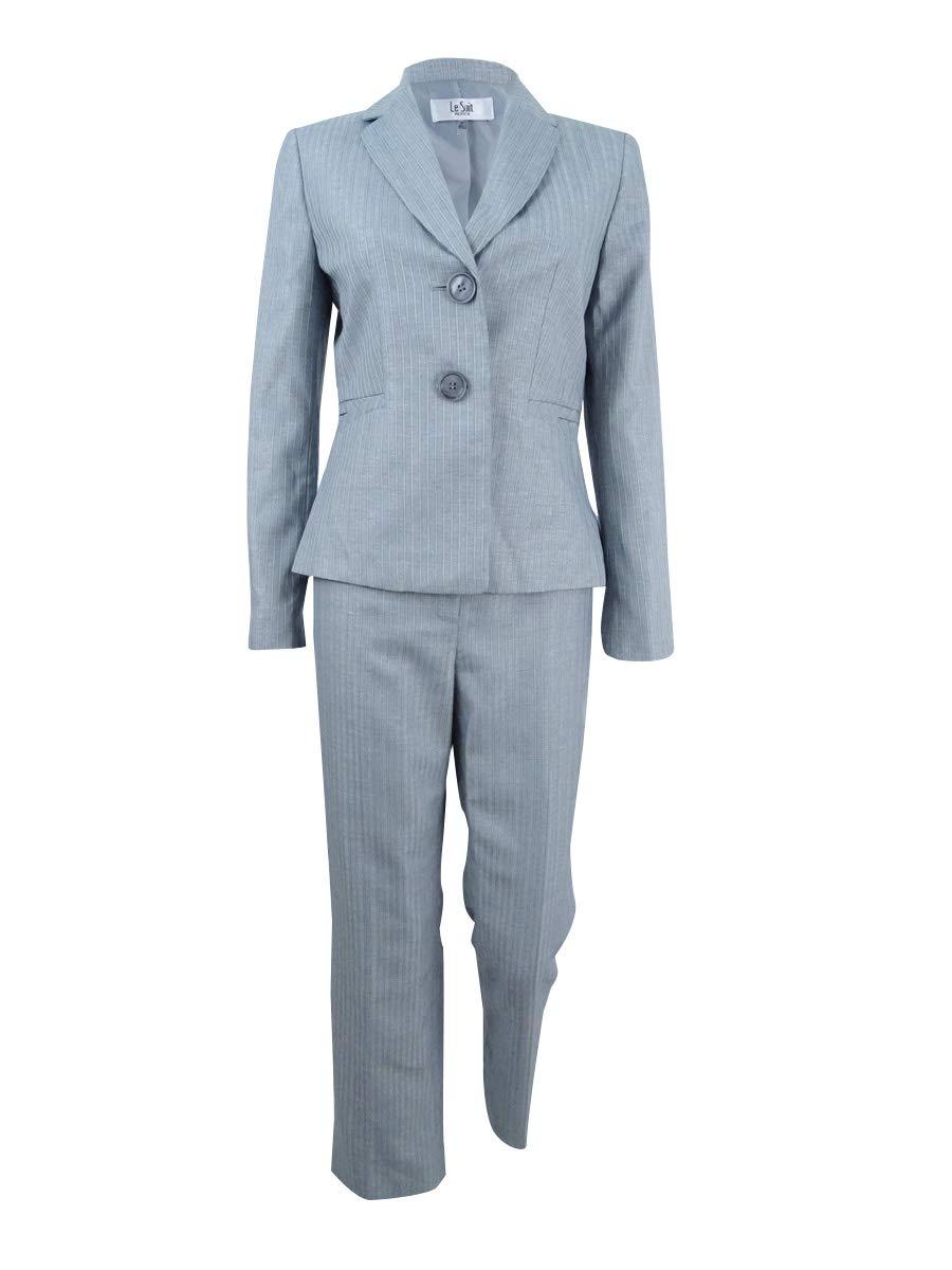 Le Suit Women's Petite Stripe 2 Button Notch Lapel Pant Suit, Silver/Navy, 2P