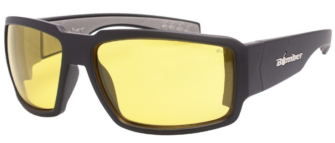 Bomber Sunglasses - Boogie Bomb Matte Black Frm / Yellow Pc Safety Lens / Gray Foam