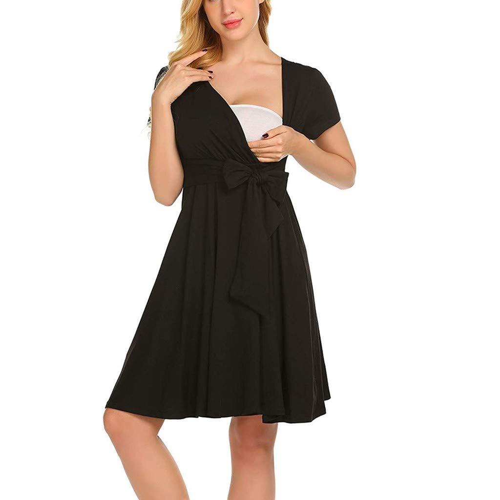 Leedford Women's Cotton Maternity Dress Nursing Baby Nightgown Breastfeeding Nightshirt Sleepwear with Bowknot (XXL, Black)
