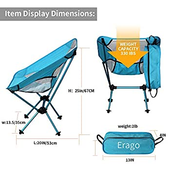 Erago Folding Camping Chair Portable,Backpack Comfortable Perfect for Hiking, Camping, Fishing,Beach, Outdoor