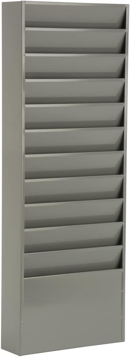 Office File Folder Wall Rack, 11 Tiered Pockets, Medical Chart Folders (Gray Powder Coated Steel)