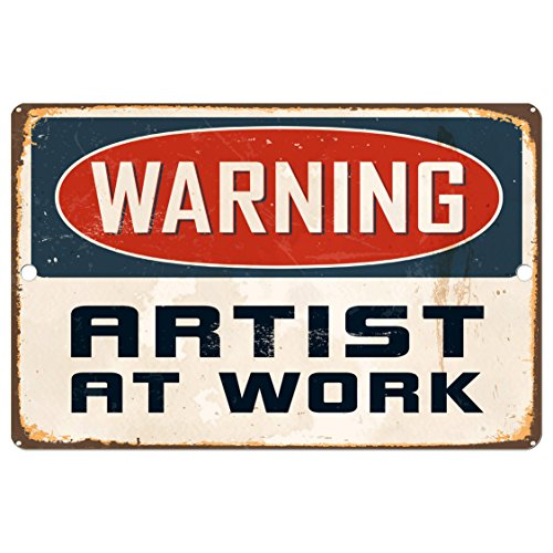Angel Indigo Warning Artist At Work Decorative Sign