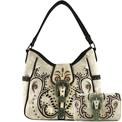 (Justin West Patina Girl Western Bronze Floral Buckle Handbag Purse Tote and Strap Wallet (Beige Tote and Wallet))