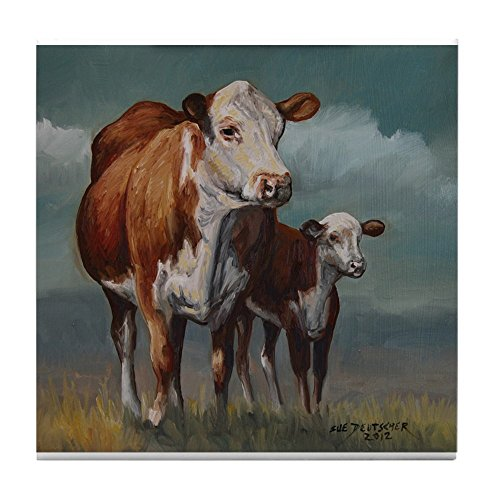 CafePress - Hereford Cow And Calf In Pasture - Tile for sale  Delivered anywhere in Canada