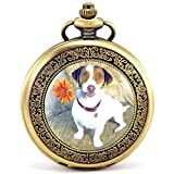 Infinite U Dog/Puppy/Goggie with Daisy Roman Numerals Hollow Skeleton Mechanical Pocket Watch