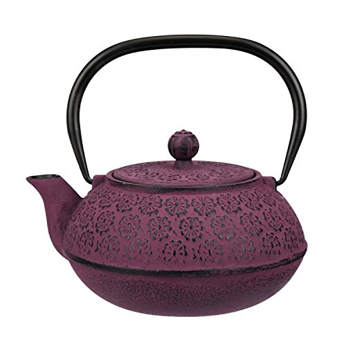 30 oz Cast Iron Teapot Enamel Lining W/Metal Infuser,Purple by A Ting