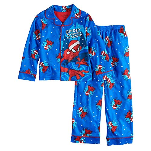 Spiderman Spidey is Coming to Town Boys' Fleece Holiday Coat Pajama Set (4) Blue