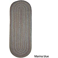 Rhody Rug Cozy Cove Indoor/Outdoor Oval Braided Runner (2 x 8) - 2 x 8 Blue
