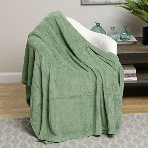 Ultra Soft Light Green Design Queen Size Microplush Blanket