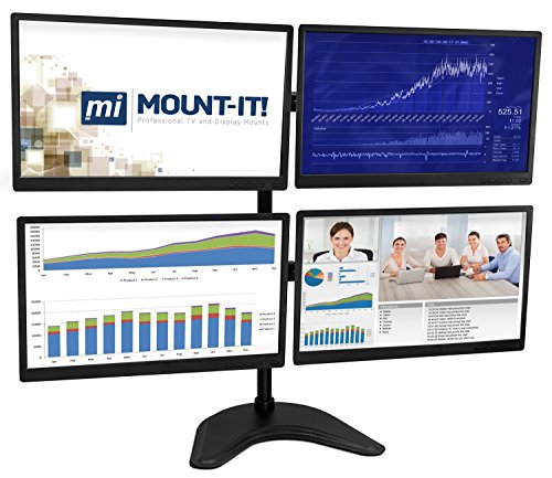 Quad Monitor Stand Freestanding Base - Height Adjustable Arm