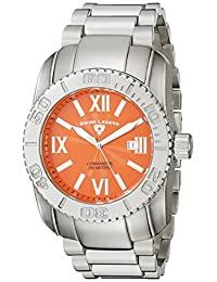 Swiss Legend Men's 10059-66 Commander Orange Textured Dial Stainless Steel Watch