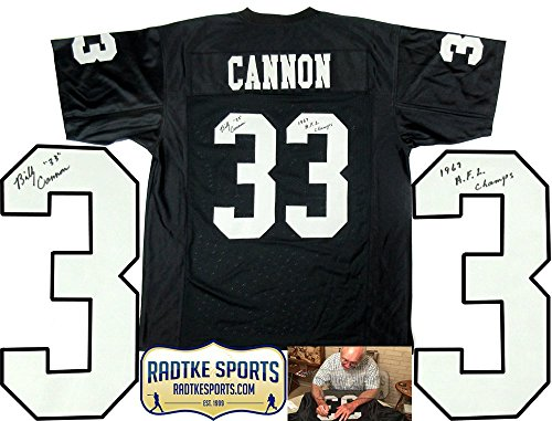 "Billy Cannon Autographed/Signed Oakland Raiders Black Custom Jersey with ""1967 AFL Champs"" Inscription"