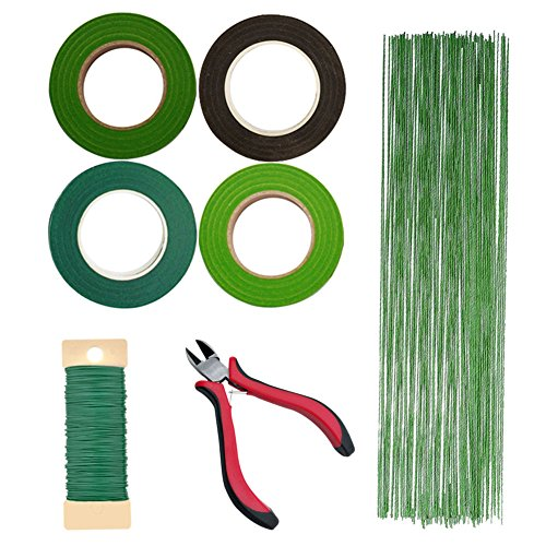 Woohome Floral Arrangement Tool Kit Floral Tape Stem Wrap 1/ 2 Inch, 26 Gauge Green Stem Wire Floral Wire, 22 Gauge Green Paddle Wire and 4.5 Inch Wire Cutter for Bouquet Stem Wrap Florist (Wire Clear Chicken)