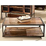 ModHaus Living Contemporary Style Reclaimed Wood Rectangle Shaped Casters Cocktail Coffee Table with Bottom Shelf | Black Metal Frame, Brown Finish, Living Room Decor – Includes Pen For Sale