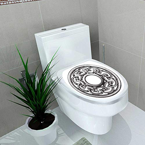 Auraise-home Toilet Seat Decal Vinyl Silver Celtic Brooch in Isolated on White Super Macro Decal Sticker for Toilet Decoration W12 x L14
