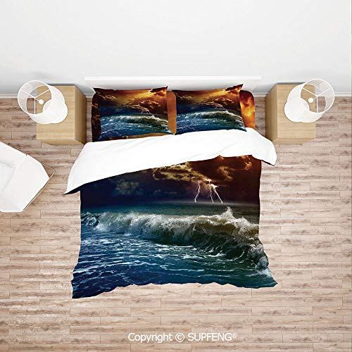 SCOXIXI 3D Duvet Cover Bedding Sets Thunderstorm Rays Over The Ocean Waves Wild Forces Burnt Fire in The Air Decorative (Comforter Not Included) Soft, Breathable, Hypoallergenic, Fade Resistant