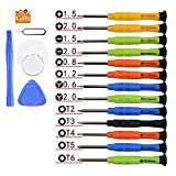 Fixinus Set of 13 Mini Precision Screwdriver Set with Tri-wing Y 0.6 Phillips 1.5 2.0 Torx T2 T3 T4 T5 T6 Pentalobe 0.8 1.2 for iPhone 7 6 6S 5 4 Samsung Smartphone Laptop