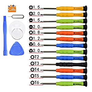 Fixinus Set of 13 Mini Precision Screwdriver Set with Tri-wing Y 0.6 Phillips 1.5 2.0 Torx T2 T3 T4 T5 T6 Pentalobe 0.8 1.2 for iPhone 7 6 6S 5 4 Samsung Smartphone Laptop Repair