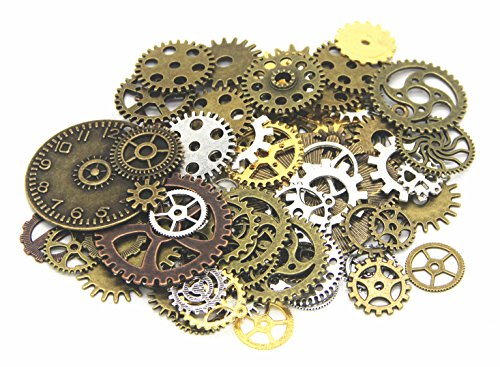 [IBS 150 Gram Mixed Color Steampunk Watch Gears Cogs Charms Pendant for Crafting DIY Jewelry Making] (Punk Costume Diy)