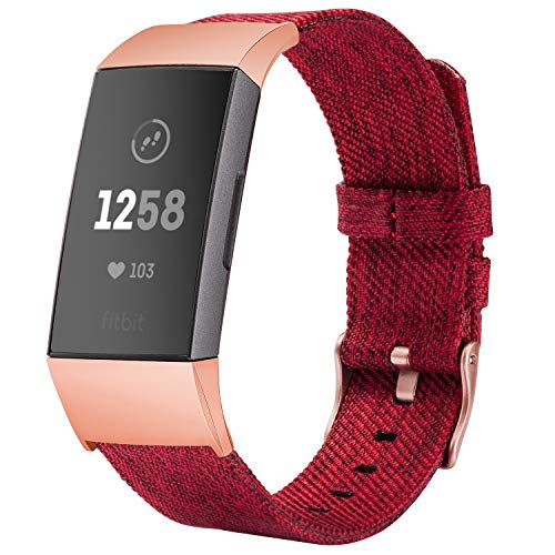 TOYOUTHS Compatible with Fitbit Charge 3 Bands Charge 3 SE Bands for Women Rose Gold Replacement Strap Sports Band Accessories Wristband for Men Small Large Compatible Fitbit Charge 3 XL, Red, Small