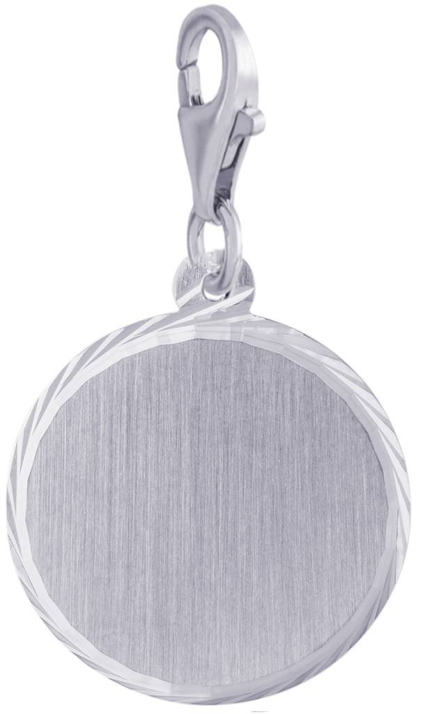 Custom Engraving (up to 10 characters) Rembrandt Charms, Diamond Cut Disc, Brushed Finish with Clasp.925 Sterling Silver