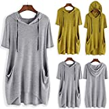 Sunmoot Clearance Sale Plus Size T Shirt for Womens Hooded Tops Girls Summer Casual Cartoon Print Cat Ear Graphic Short Sleeve Side Pockets Tunic D -Gray