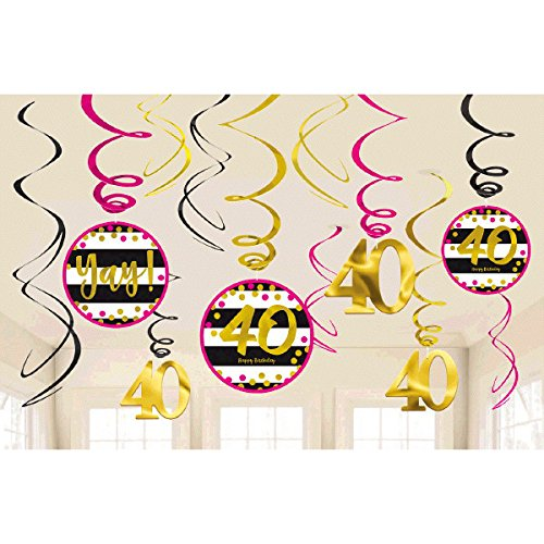 40th Birthday Decorations And Party Supplies In Pink Gold Black Foil For 24 Guests Includes Plates Cups Napkins Deluxe Kit