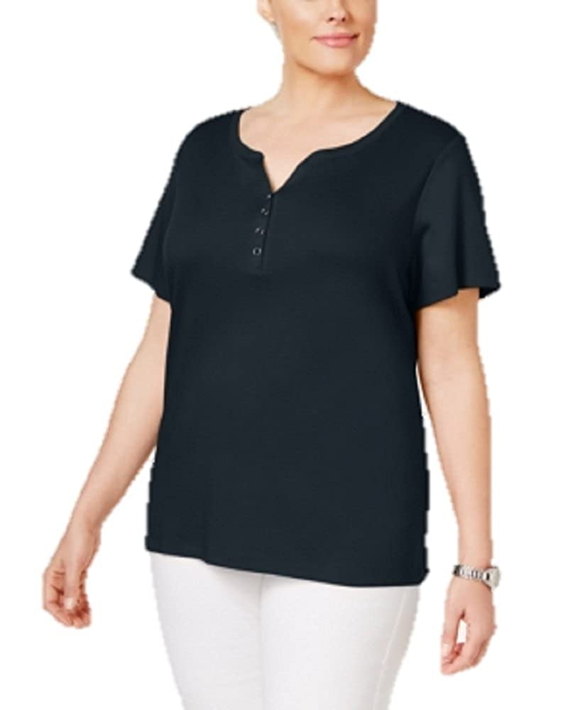 Karen Scott Plus Size Cotton Henley T-Shirt 3X 17001ib249