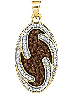 Diamond Pendant 10kt Yellow Gold Cognac-brown Colored Oval Cluster 1/2 Cttw(I2/i3, i/j)