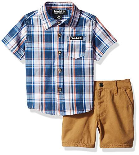Timberland Baby Boys 2 Pieces Shirt Shorts Set, Blue Plaid/Khaki, 3-6 Months