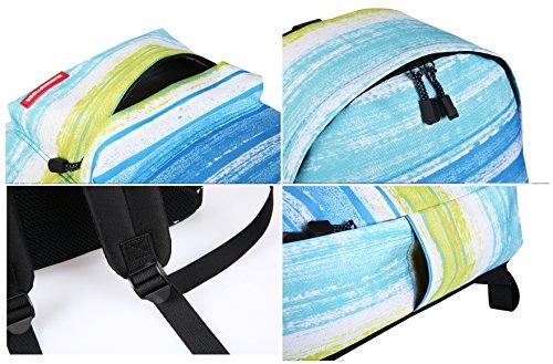 """Artone Universo Azul Casual Mochila Fit 15"""" Portátil Con La caja de lápiz Galaxy y Crossbody Bolsa Conjunto Raya"""