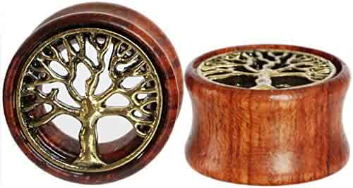 Oasis Plus Tree of Life Organic Wood Tunnels Double Flared Ear Stretcher Saddle Plugs Gauge 8mm - 20mm