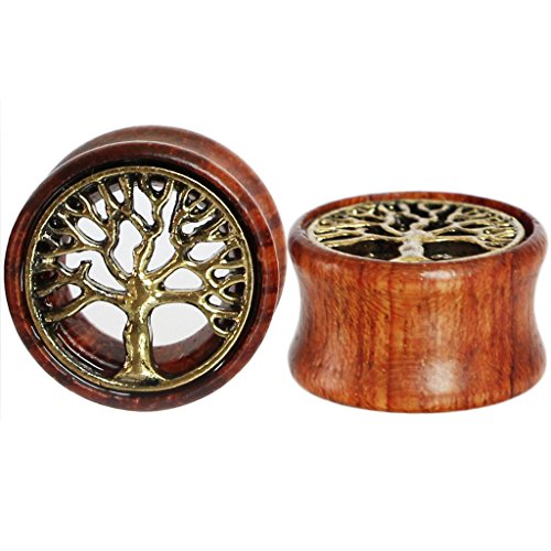 Double Flare Organic Plugs - Oasis Plus Tree of Life Organic Wood Flesh Tunnels Double Flared Ear Stretcher Saddle Plugs Gauge 8mm 0g