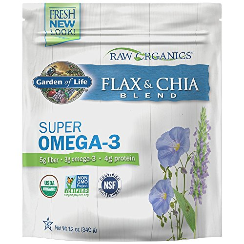 Garden of Life Raw Organic Flax Seed Meal with Chia Seeds - Flaxseed with Omega 3, Lignan and Polyphenol, 12 oz Pouch ()