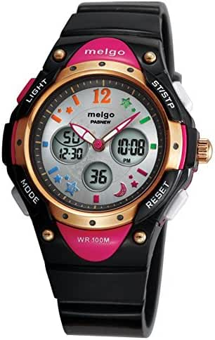 Jewtme Water-proof 100m Dual Time Unisex Child Outdoor Sport Watch Black