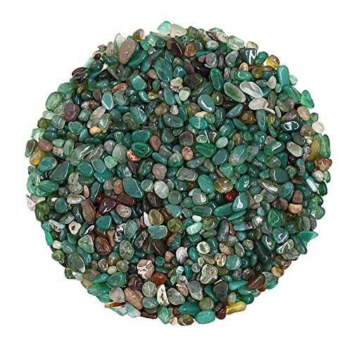 Arswin Green Agate Natural Crushed Stone Bulk Small Tumbled Chips Crystal Healing Reiki for Outdoor Indoor Home Making Decoration, Fish Tank, Vase Fillers, Succulent Pot Decor, 1lb 0.2-0.3