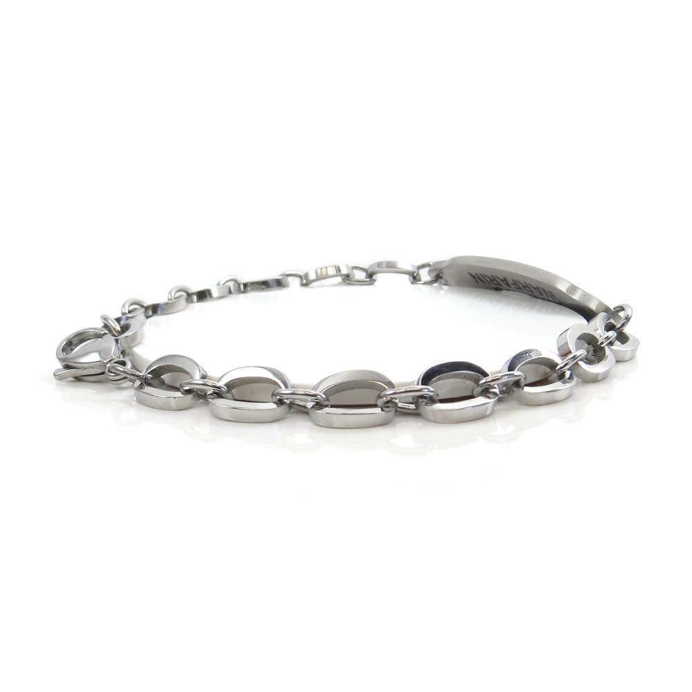 My Identity Doctor White Symbol Pre-Engraved /& Customizable Pacemaker Alert Bracelet Oval Links