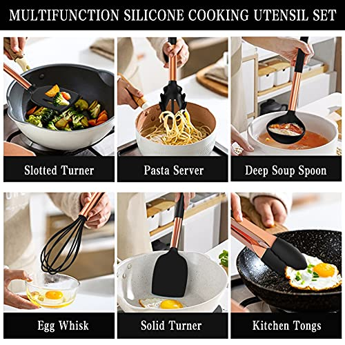 Umite Chef 14 pcs Silicone Cooking Utensils Kitchen Utensil Set - 446°F Heat Resistant, Kitchen Gadgets Tools Set with Copper Stainess Steel Handles for Non-Stick Cookware(Black)