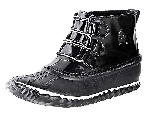 - Sorel Womens Out N About Waterproof Winter Leather Ankle Patent Boots - Black - 6