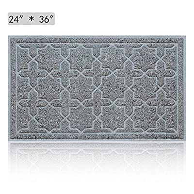 """Large Outdoor Indoor Rubber Doormat - Magic Outside Front Welcome Door Mats, Inside Entrance Rugs, Non-slip Low-profile and Waterproof 24"""" x 36"""" Grey Mat Catches Snow, Dirt, Mud & Pet Paws"""