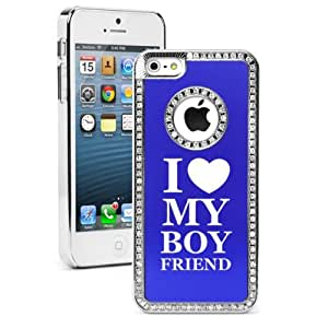 Apple iPhone 5 5S Blue 5S1544 Rhinestone Crystal Bling Aluminum Plated Hard Case Cover I Love My Boyfriend