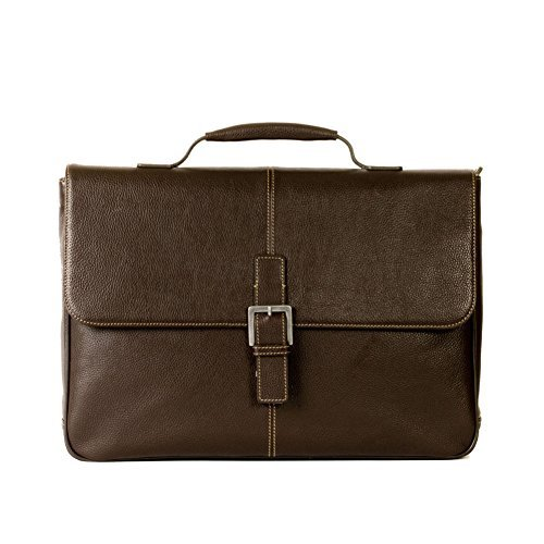 Boconi Tyler Tumbled Brokers Leather Messenger Bag in Coffee