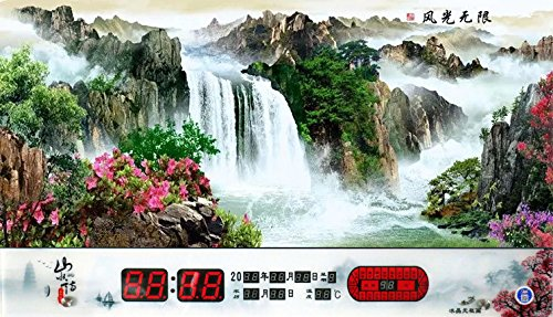 Imoerjia Ultra-Thin Ice Crystal Digital Calendar No Box 24 Solar Terms Temperature Landscape Wall-Mounted Electronic Wall Clock,7942Cm Slim with 24 Solar Terms,2Cm,4 Views