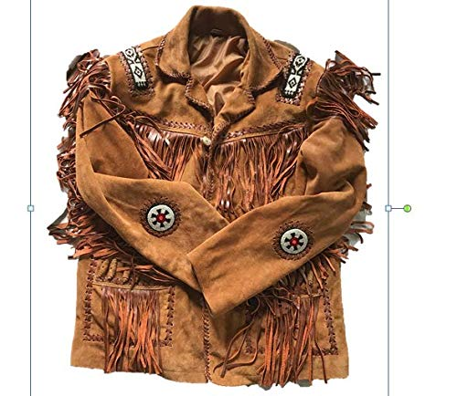 - Men's Traditional Cowboy Western Leather Jacket Coat with Fringe (XXX-Large) Brown