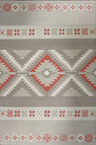 Southwestern Patio Furniture - Southwestern Lodge Patio Indoor/Outdoor Grey Area Rug 5'3 W X 7'5 L