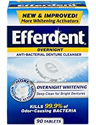 Efferdent PM Overnight Anti-Bacterial Denture Cleanser Tablets | 90 Count | Overnight Deep Cleans Dentures
